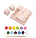 Holzpuzzle Kreativset m. 12 Farben u. Pinsel